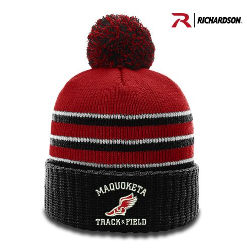 Maquoketa Track and Field Spring Richardson Striped Beanie with Cuff and Pom-Red/Black/White
