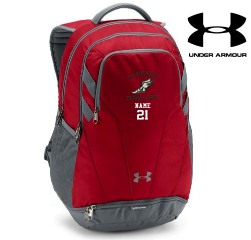 Maquoketa Track and Field Spring Under Armour Team Hustle 3.0 Back Pack-Red/Grey