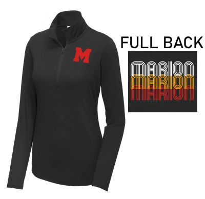 Marion Youth Baseball Fall/Winter Sport Tek Ladies PosiCharge Tri-Blend Wicking 1/4 Zip Pullover-Black Triad Solid