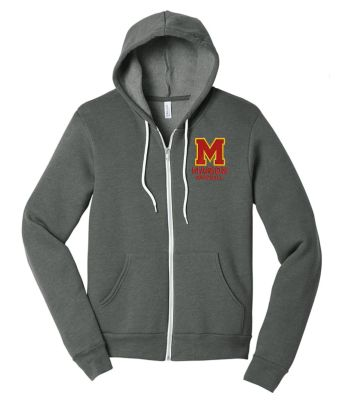 Marion Youth Baseball Fall/Winter Bella and Canvas Unisex Spong Fleece Full Zip Hoodie-Deep Heather