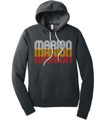 Marion Youth Baseball Fall/Winter Bella and Canvas Unisex Sponge Fleece Pullover Hoodie-Dark Grey Heather