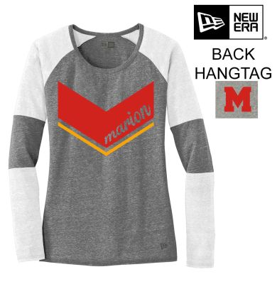 Marion Youth Baseball Fall/Winter New Era Ladies Triblend Performance Baseball Tee-White/Shadow Grey
