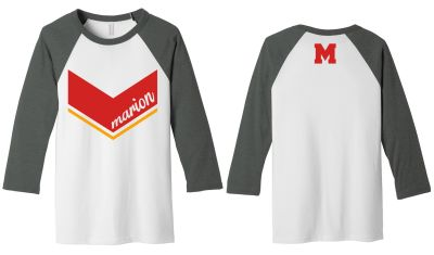 Marion Youth Baseball Fall/Winter Bella and Canvas Unisex 3/4 Sleeve Baseball Tee-White/Deep Heather