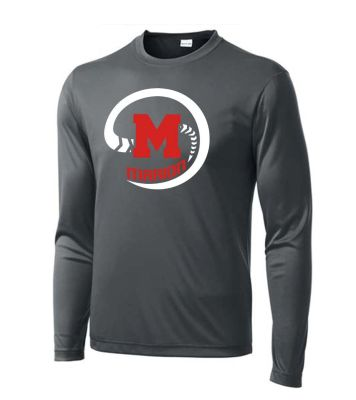 Marion Youth Baseball Fall/Winter Sport Tek Long Sleeve PosiCharge Competitor Tee-Iron Grey