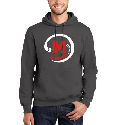 Marion Youth Baseball Fall/Winter Unisex Basic Essential Fleece Pullover Hooded Sweatshirt-Charcoal
