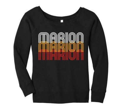 Marion Youth Baseball Fall/Winter Bella and Canvas Women's Spong Fleece Wide-Neck Sweatshirt-Black