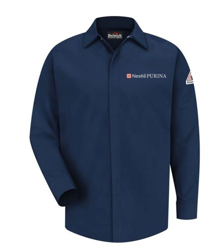 01. Nestle Purina Long Sleeve 100% Cotton FR Button Up Work Shirt-Navy