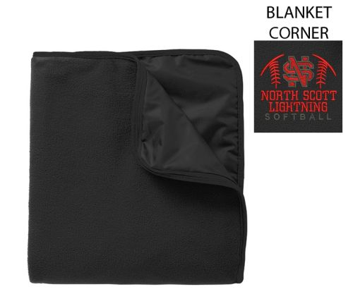 NS Lightning Softball Fall Port Authority Fleece and Poly Travel Blanket-Black/Black