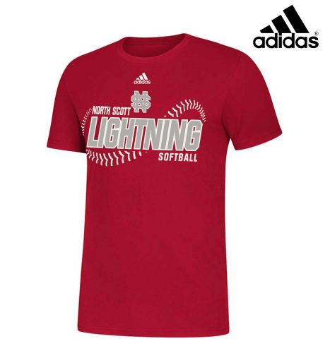 NS Lightning Softball Fall Adidas Unisex Amplifier Short Sleeve Cotton Tee-Red