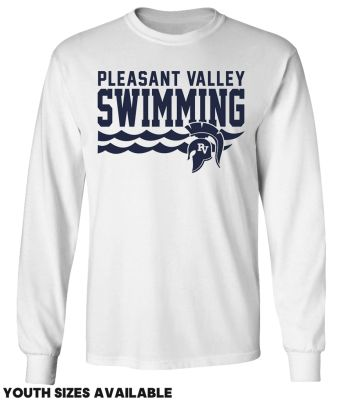Pleasant Valley Boys Swimming Fall Unisex Basic Long Sleeve Tee-White