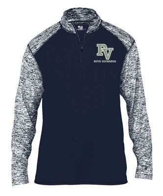 Pleasant Valley Boys Swimming Fall Sport Colorblock Blend Performance 1/4 Zip-Navy
