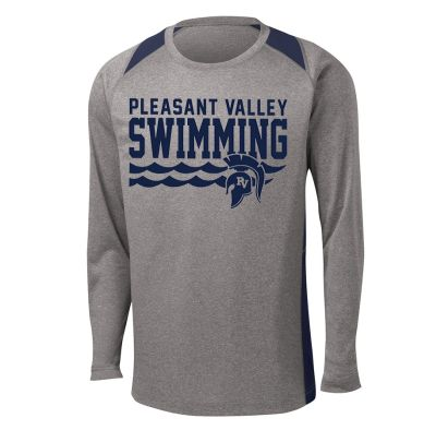 Pleasant Valley Boys Swimming Fall Heather Colorblock Contender Long Sleeve Tee-True Navy