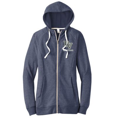 Pleasant View Elementary Holiday District Women's Perfect TriBlend French Terry Full Zip Hoodie-New Navy
