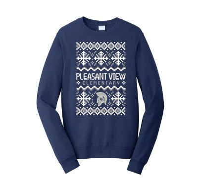 Pleasant View Elementary Holiday Unisex Fan Favorite Fleece Crewneck Sweatshirt-Navy