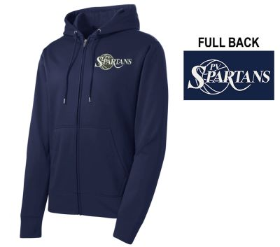 PV Spartans Boys Basketball Sport Tek Sport Wick Fleece Full Zip Hooded Jacket-Navy