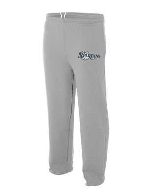 PV Spartans Boys Basketball Open Bottom Pocketed Fleece Pant-Heather Grey