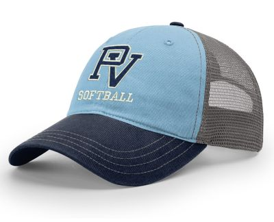 Pleasant Valley Softball Holiday Garment Washed Trucker-Columbia Blue/Charcoal/Navy