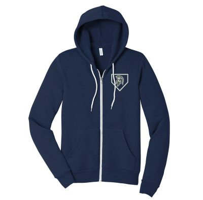 Pleasant Valley Softball Holiday Bella and Canvas Unisex Spong Fleece Full Zip Hoodie-Navy