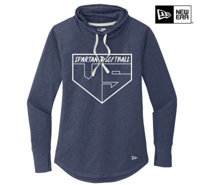 Pleasant Valley Softball Holiday New Era Ladies Sueded Cotton Blend Cowl Tee-True Navy Heather