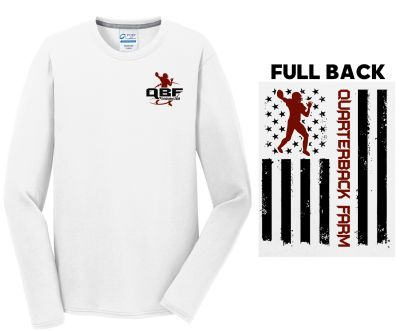 Quarterback Farm Holiday Long Sleeve Performance Blend Tee-White