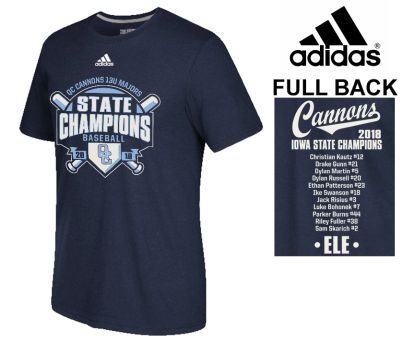 03. QC Cannons 13U Majors 2018 State Champions adidas Go-To Soft Blend Short Sleeve Tee-Navy