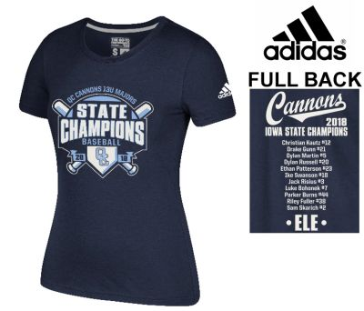 04. QC Cannons 13U Majors 2018 State Champions adidas Women's Go-To Soft Blend Short Sleeve Tee-Navy