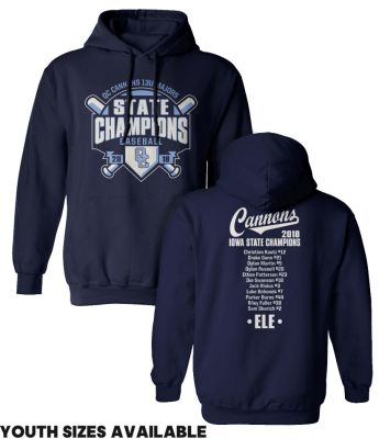 06. QC Cannons 13U Majors 2018 State Champions Hooded Sweatshirt-Navy