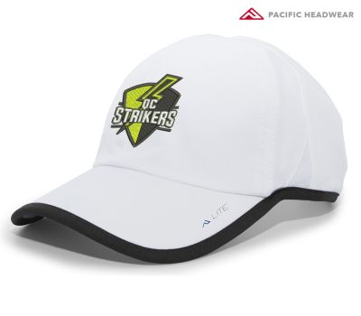 Quad City Strikers Soccer Lite Series Active Hook and Loop Pacific Headwear Adjustable Cap-White/Black