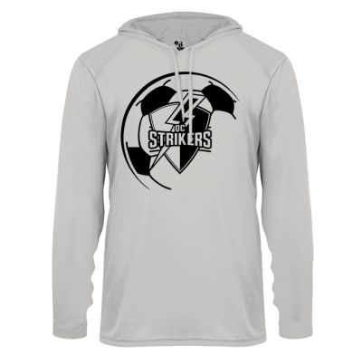 Quad City Strikers Soccer B-Core Long Sleeve Hood Tee-Silver