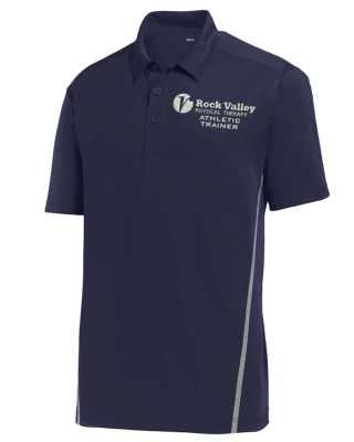 03. Rock Valley Athletic Trainer Contrast PosiCharge Tough Polo-True Navy/Heather Grey