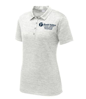 07. Rock Valley Athletic Trainer Ladies PosiCharge Electric Heather Polo-Silver Electric