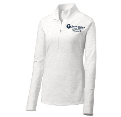 09. Rock Valley Athletic Trainer Ladies Sport-Wick Stretch Reflective Heather 1/2 Zip Pullover-White