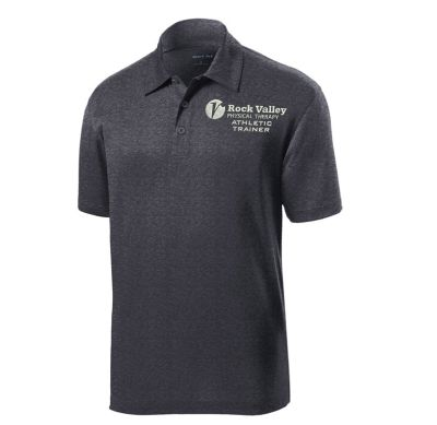 12. Rock Valley Athletic Trainer Heather Contender Performance Polo-Graphite Heather