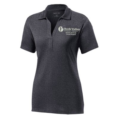 13. Rock Valley Athletic Trainer Ladies Heather Contender Performance Polo-Graphite Heather
