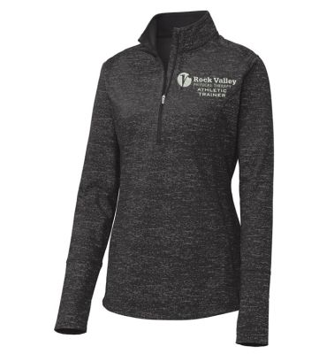 26. Rock Valley Athletic Trainer Ladies Sport-Wick Stretch Reflective Heather 1/2 Zip Pullover-Black