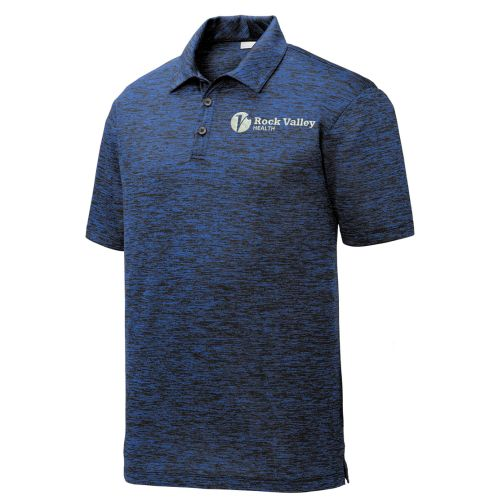 04. Rock Valley Health PosiCharge Electric Heather Polo-Dark Royal/Black Electric