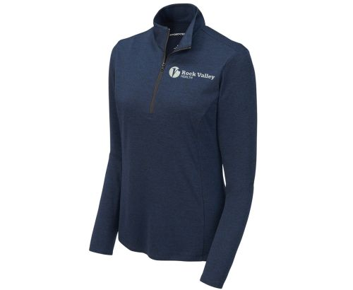 02. Rock Valley Health Ladies Endeavor 1/4 Zip Pullover-Dark Royal Heather