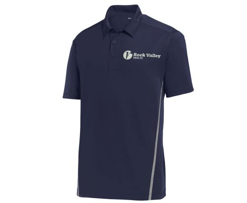 03. Rock Valley Health Contrast PosiCharge Tough Polo-True Navy/Heather Grey
