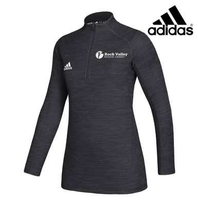 01. Rock Valley Physical Therapy adidas Women's Lightweight Game Mode Performance 1/4 Zip-Black Melange