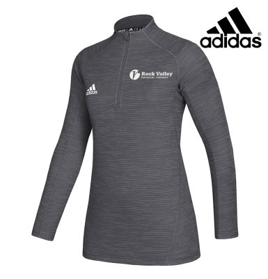 02. Rock Valley Physical Therapy adidas Women's Lightweight Game Mode Performance 1/4 Zip-Grey 5 Melange