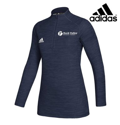 03. Rock Valley Physical Therapy adidas Women's Lightweight Game Mode Performance 1/4 Zip-Navy Melange
