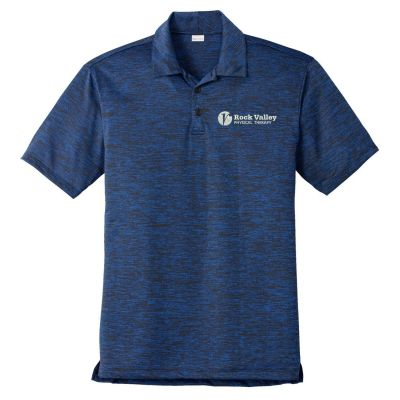 04. Rock Valley Physical Therapy PosiCharge Electric Heather Polo-Dark Royal/Black Electric
