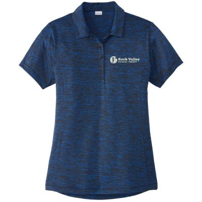 05. Rock Valley Physical Therapy Ladies PosiCharge Electric Heather Polo-Dark Royal/Black Electric