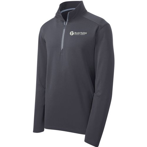 06. Rock Valley Physical Therapy Sport Wick Textured 1/4 Zip Pullover-Iron Grey