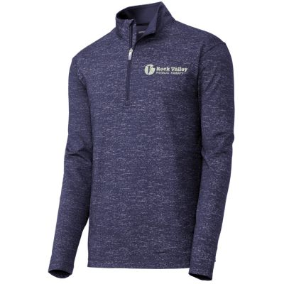 11. Rock Valley Physical Therapy Sport-Wick Stretch Reflective Heather 1/2 Zip Pullover-True Navy