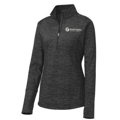 12. Rock Valley Physical Therapy Ladies Sport-Wick Stretch Reflective Heather 1/2 Zip Pullover-Black