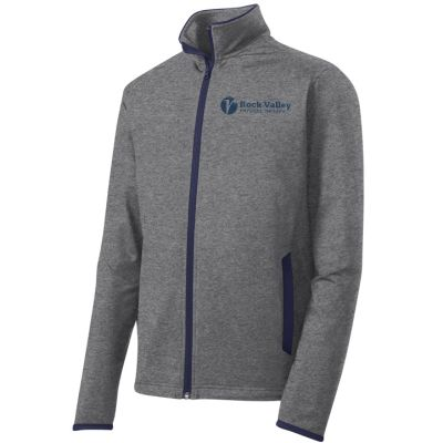 13. Rock Valley Physical Therapy Sport-Wick Stretch Contrast Full-Zip-Charcoal Heather/Navy
