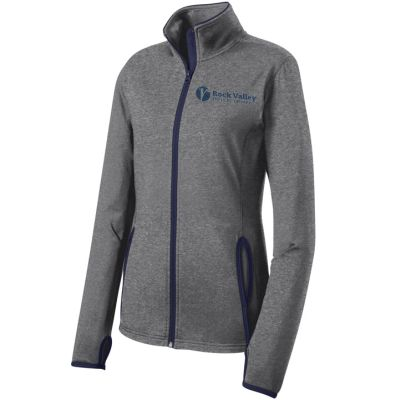 14. Rock Valley Physical Therapy Ladies Sport-Wick Stretch Contrast Full-Zip-Charcoal Heather/Navy