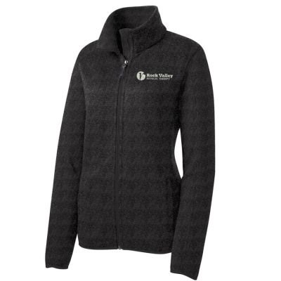 16. Rock Valley Physical Therapy Ladies Sweater Fleece Jacket-Black Heather