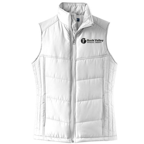 17. Rock Valley Physical Therapy Ladies Puffy Vest-White